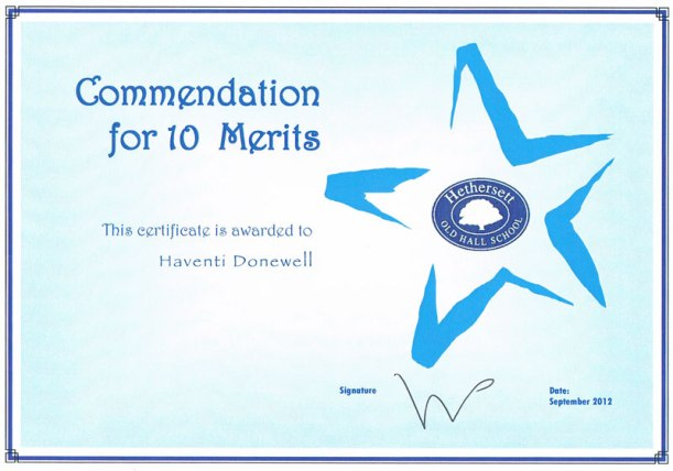 Commendation-certificate
