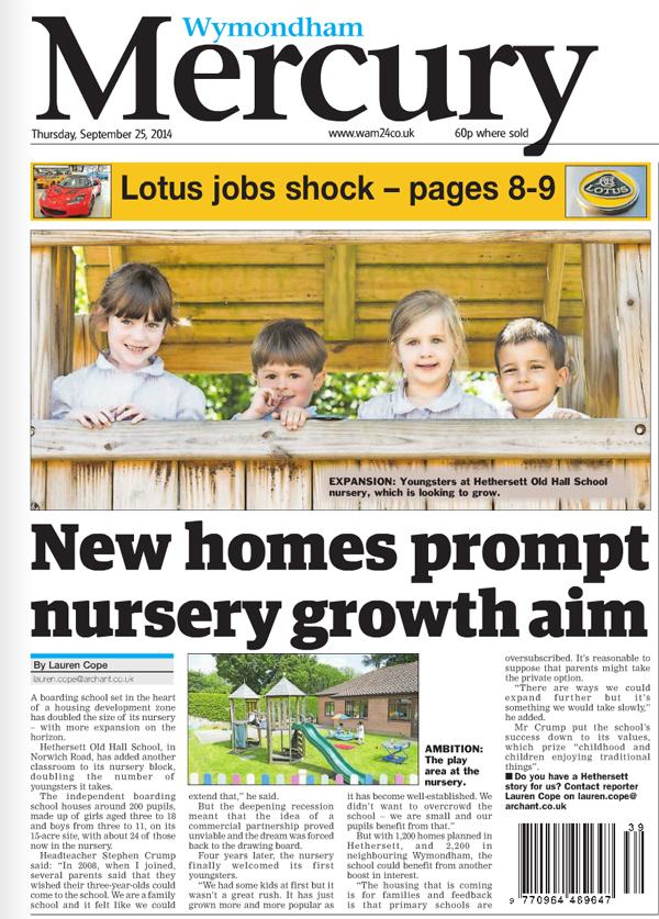 Wymondham Mercury Nursery story