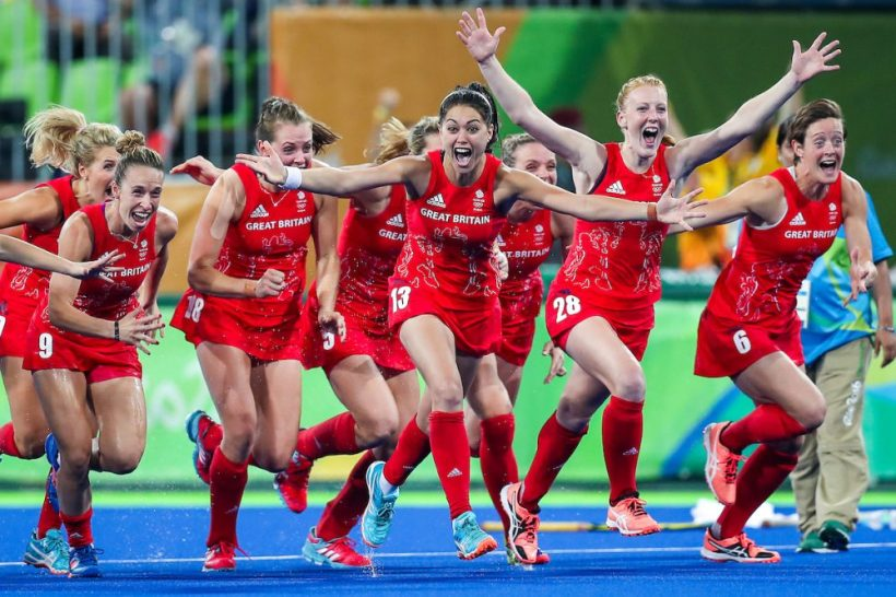 Picture by Alex Whitehead/SWpix.com - 19/08/2016 - 2016 Rio Olympic Games - Hockey - Olympic Hockey Centre, Rio de Janeiro, Brazil - Great Britain celebrate beating Netherlands to win Gold in the Women's Hockey Final.