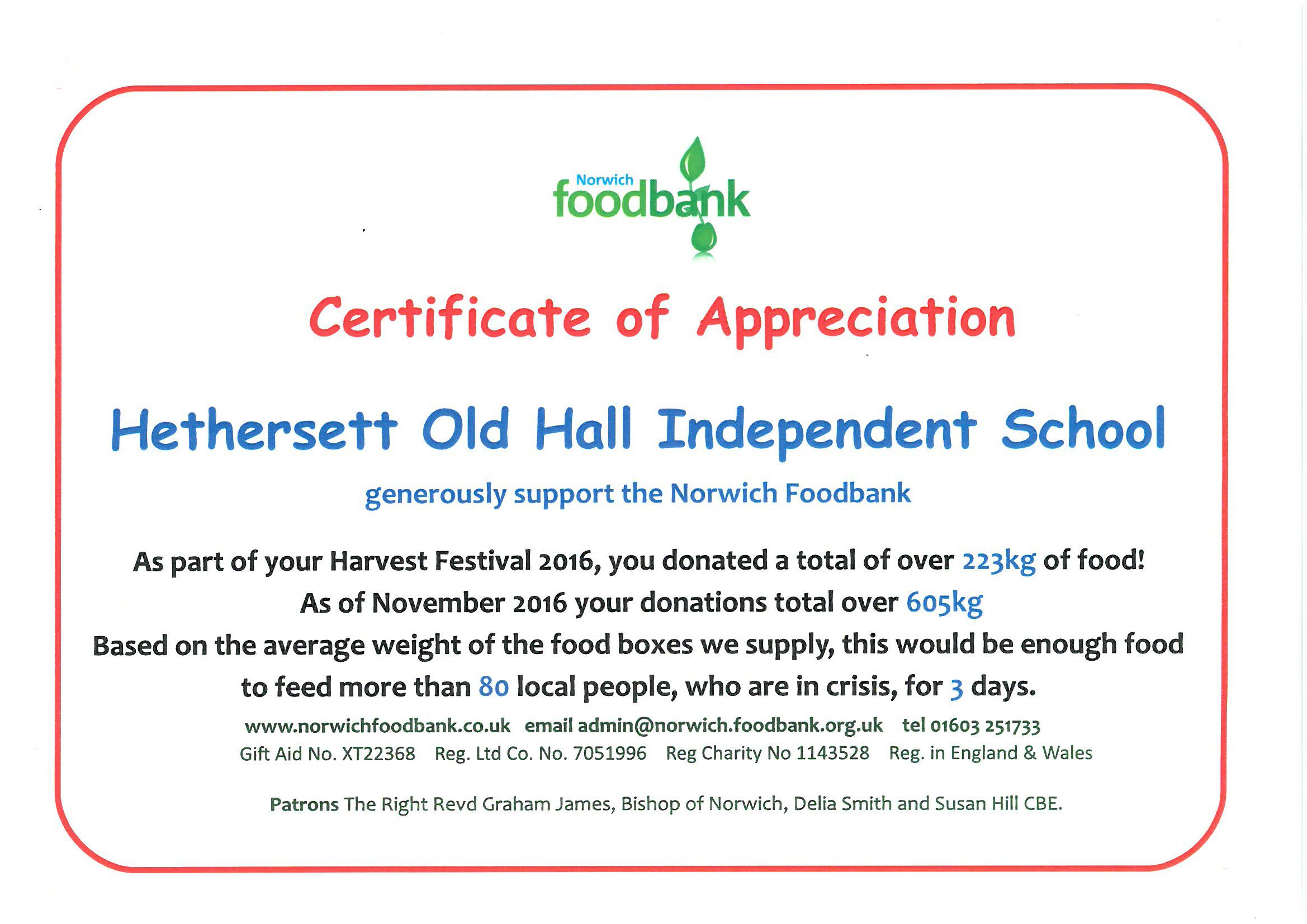A Thank You From Norwich Foodbank Hethersett Old Hall